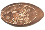 A0050 Retired Mickey Mouse in beach chair stretched penny.