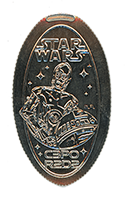 CA0225 C3PO and R2D2 from the movie Star Wars pressed quarter.