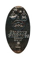 CA0244 SEASONS GREETINGS 2017 Alien themed Christmas tree ornaments pressed nickel.