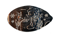CA0264 Mickey feeding two small reindeer with snowflakes falling in the background pressed nickel.