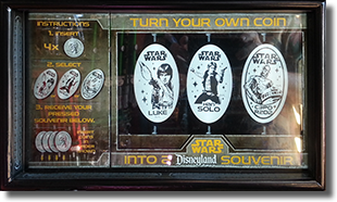 Disney California Adventure Gone Hollywood Star Wars quarter press machine marquee 3-03-2017. Coin numbers CA0223, CA0224, and CA0225.