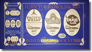 Disney California Adventure 2017 pressed nickel set CA0229, CA0230, and CA0231 marquee 7/29/2017