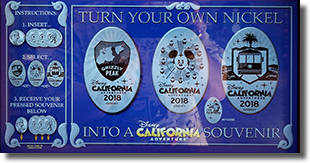 The Disney California Adventure 2018 Yearly pressed nickel set, CA0247, CA0248 and CA0249 marquee as of 2-15-2018