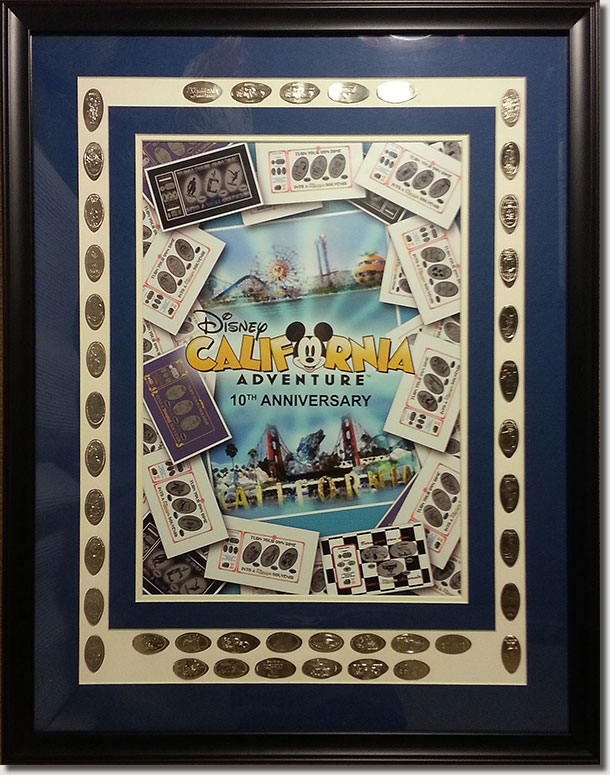 Framed 10th Anniversary Dime Collection and Art
