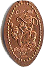 DN0030 Racer Mickey Mouse Prototype vertical pressed penny.