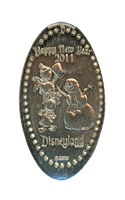 DN0084 2011 HAPPY NEW YEAR HEWEY, LOUIE, DEWEY & SNOWMAN Prototype Pressed Nickel.