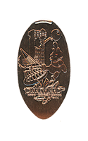 DR0182 60th 1995-2004 Decades Disneyland Hotel, Hollywood Tower of Terror and Winnie The Pooh pressed penny.