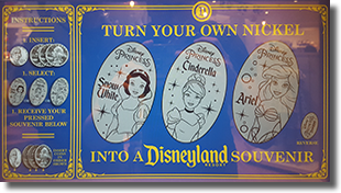 Click to open the DR Disneyland Resort Hotels and Downtown Disney pressed coin guide