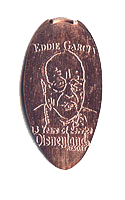 DS0014 Retired Eddie Garcia, 13 YEARS OF SERVICE, DISNEYLAND ® RESORT penny backstamp engraved by the Disneyland Arcade Shop at The Disneyland Resort.