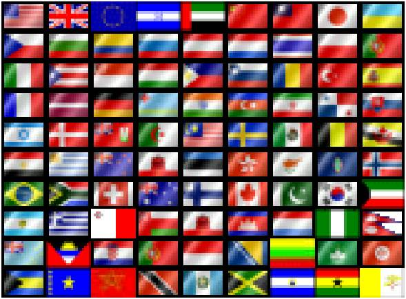 These flags followed by the country and region lists represent most all