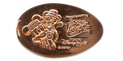 TDS1308 Mickey Mouse and Duffy pressed penny