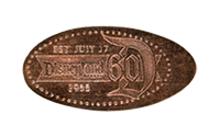 The Disneyland Resort's 60th Anniversary Diamond Celebration pressed penny backstamp image.