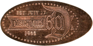 Disneyland Resort's 60th Anniversary Diamond Celebration pressed penny backstamp.