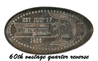 Disneyland Resort's 60th Anniversary Diamond Celebration pressed quarter backstamp.