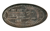 The Disneyland Resort's 60th Anniversary Diamond Celebration pressed quarter backstamp image.