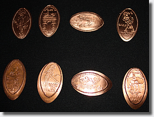 RFC pressed coins top row planchets, bottom row pressed on Euro coins