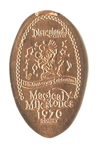 1970 Elongated Coin Mickey Mouse, 15th ANNIVERSARY CELEBRATION from our elongated coin collection