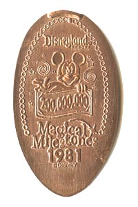 1981 pressed penny 200,000,000th Guest Welcomed to Disneyland Park from our elongated coin collection