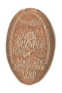 1990 pressed penny Mickey and Minnie, Party Gras Parade Debuts from our elongated coin collection