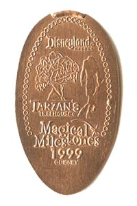 1999 pressed penny Tarzan's Treehouse Opens from our elongated coin collection
