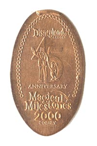 2000 pressed penny Walt and Mickey, 45th Anniversary of Disneyland Park from our elongated coin collection